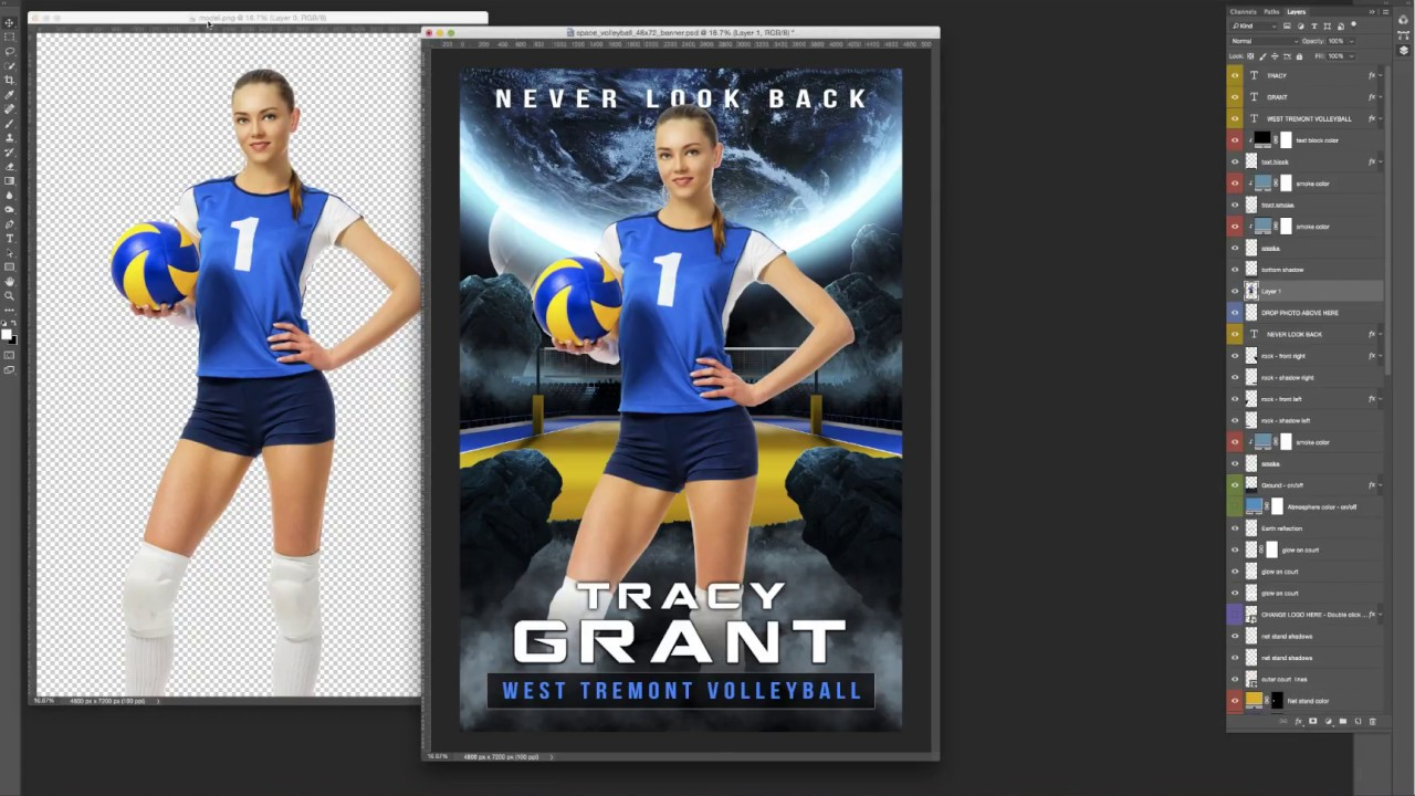 Photoshop Sports Template Tutorial Space Volleyball