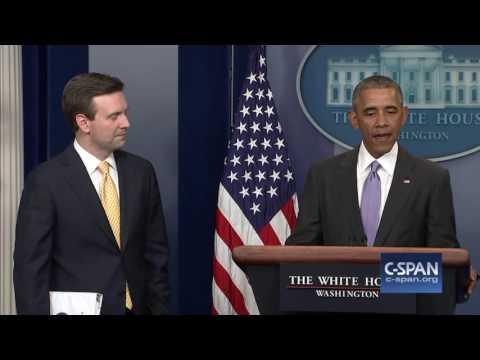 President Obama interrupts final White House Press Briefing (C-SPAN)