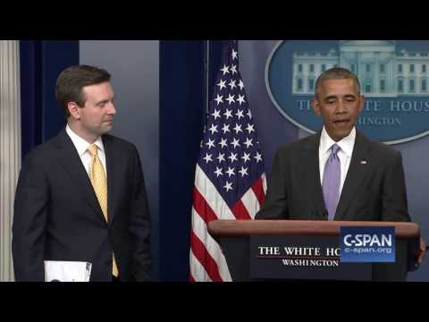President Obama interrupts final White House Press Briefing (C-SPAN)