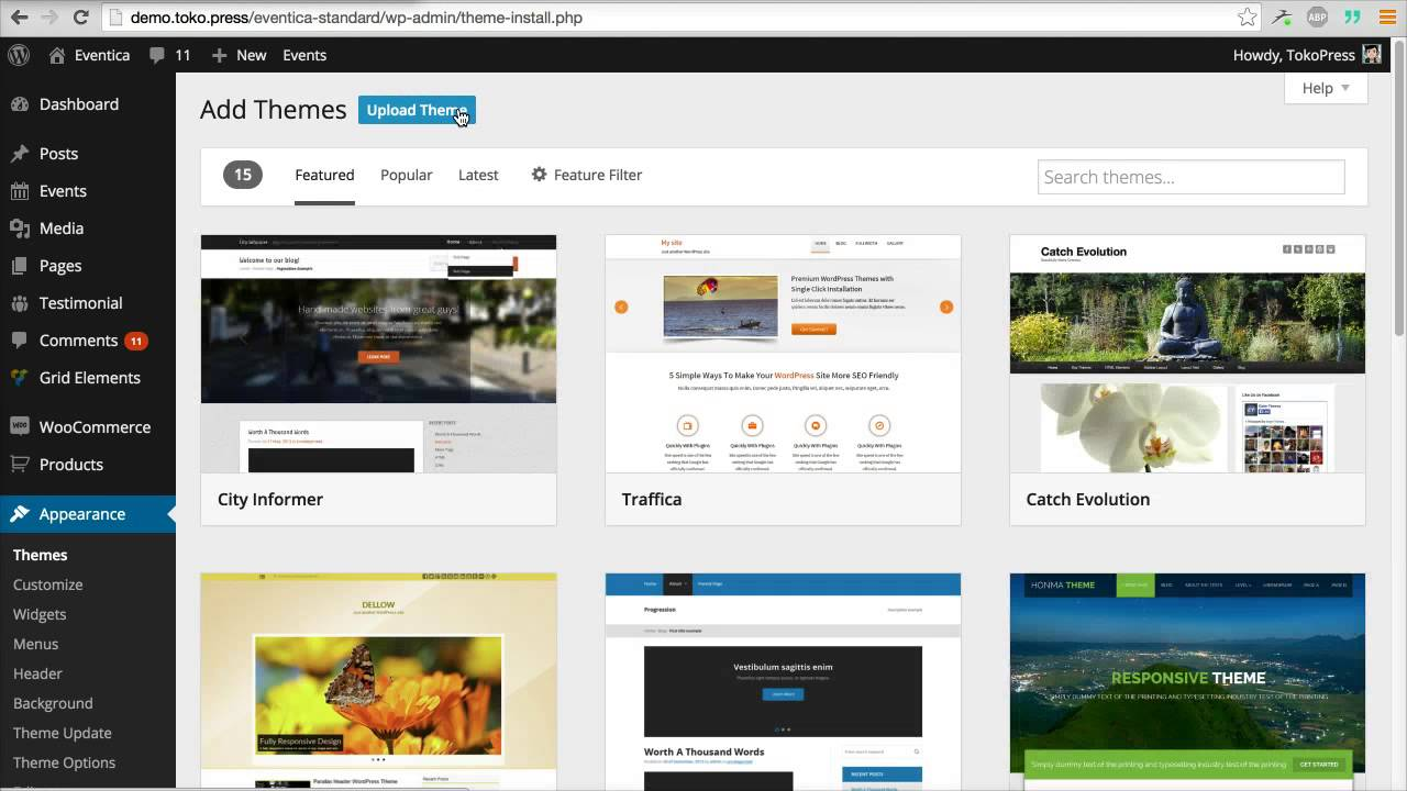 tokopress update your wordpress theme using plugin easy themes and