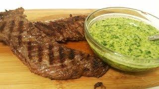 Churrasco a la parrilla con salsa chimichurri-Receta- Tu cocina latina