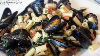 Mussels in White Wine Sauce with pasta Recipe: My Cooking Page How to cook mussels
