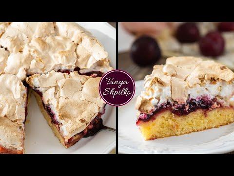 Сливовый Пирог с Меренгой (Безе) | Plum Meringue Cake | Tanya Shpilko