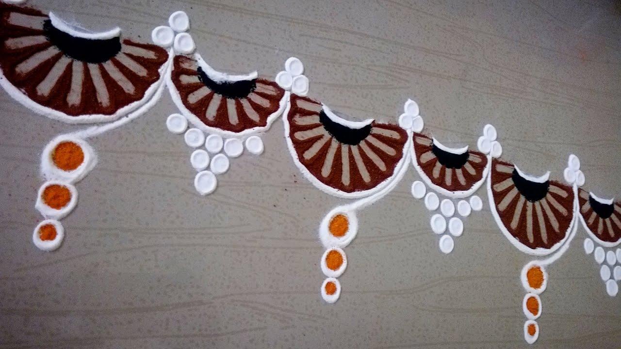 Rangoli door borders border rangoli designs for doors for Door rangoli design images new
