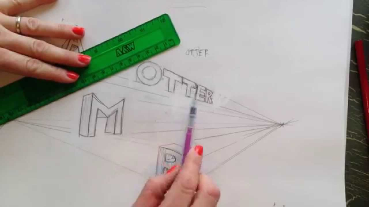 how to draw 2 point perspective letters youtube