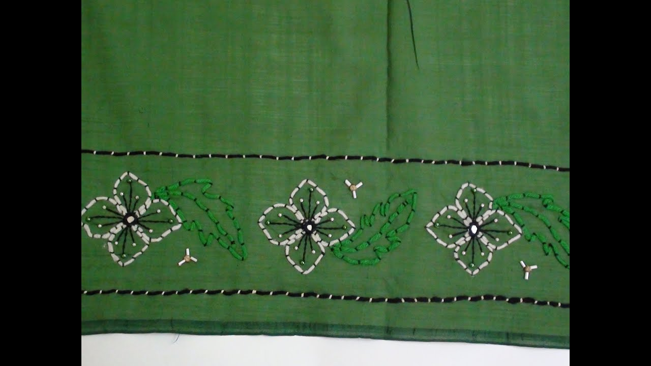 Saree Border With Couching Stitch - YouTube