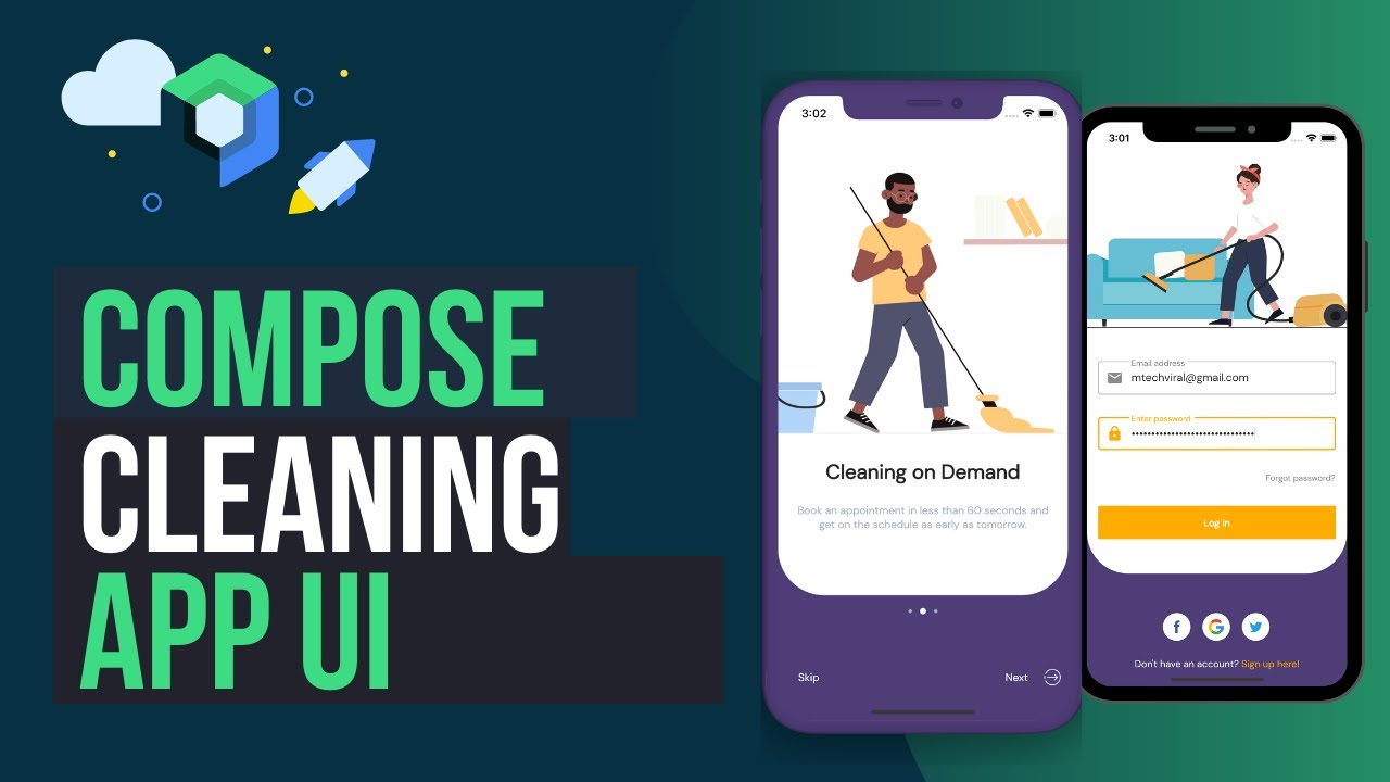 Beautiful Jetpack Compose Cleaning App UI Native Android | Speed Code