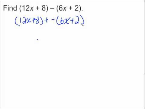 5.7 Subtracting Linear Expressions - YouTube