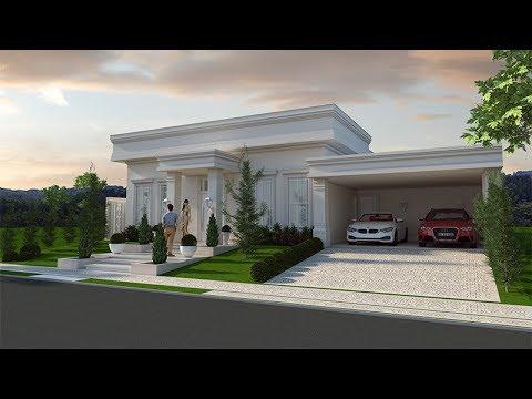 Projeto casa terrea arquitetura neoclassica fachada for Casa moderna classica