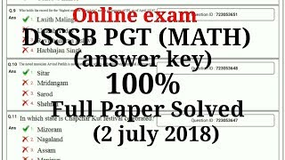 DSSSB PGT [MATH] ONLINE EXAM full paper solved 2 JULY 2018 | DK Gupta