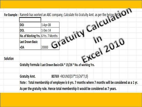 Gratuity settlement Calculation
