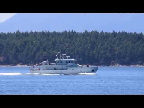 Navy patrol ships seen from Galiano Island