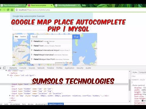 Google Maps Places Autocomplete Search Box PHP|MySql