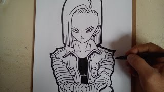 Como dibujar a androide numero 18 / how to draw Android number 18