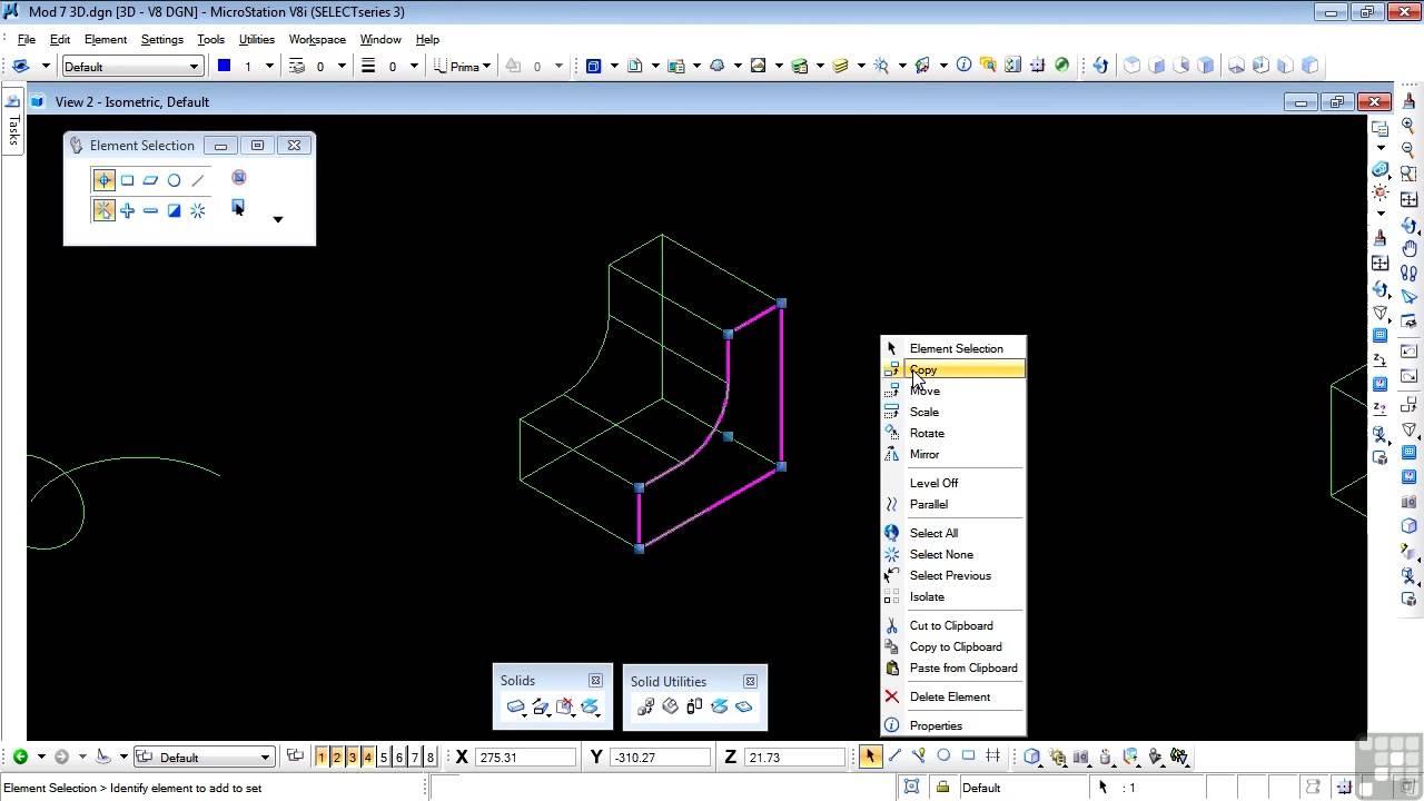 bentley microstation v8i 3d tutorial extract faces or edges youtube. Black Bedroom Furniture Sets. Home Design Ideas