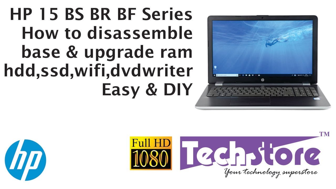 HP 15 BS BR BF Series : How to dissassemble remove the base & upgrade  memory hdd ssd m 2