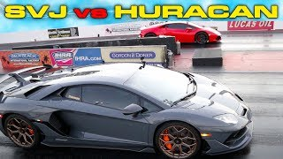 KING OF THE RING PHOTO FINISH * 770HP Lamborghini Aventador SVJ vs Huracan Drag Racing 1/4 Mile