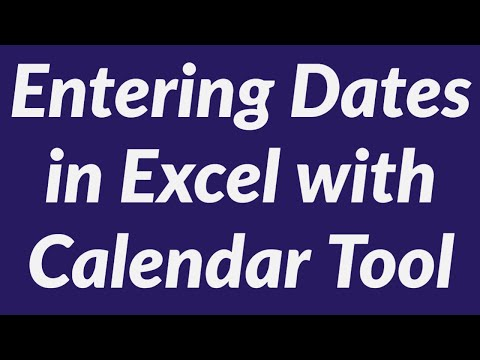 Entering Dates in Excel worksheet using Calendar Tool - One Click Date Entry