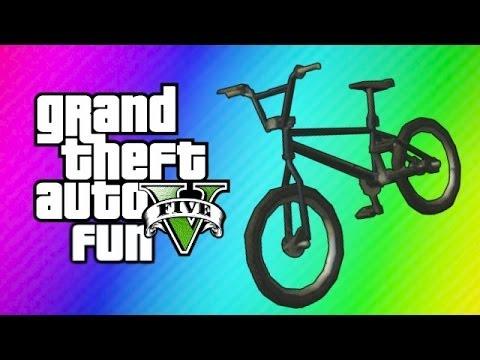 GTA 5 Online Funny Moments - BMX Bike Fun, Wack-a-Bike Mini Game, Chipotle!  (Gmod Transition Goof!)