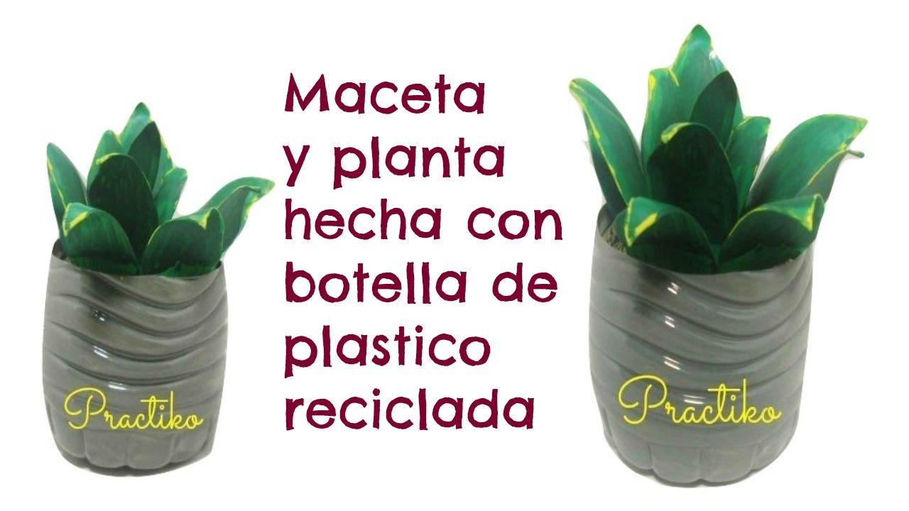 PLANTA Y MACETA HECHA CON BOTELLAS DE PLASTICO ...