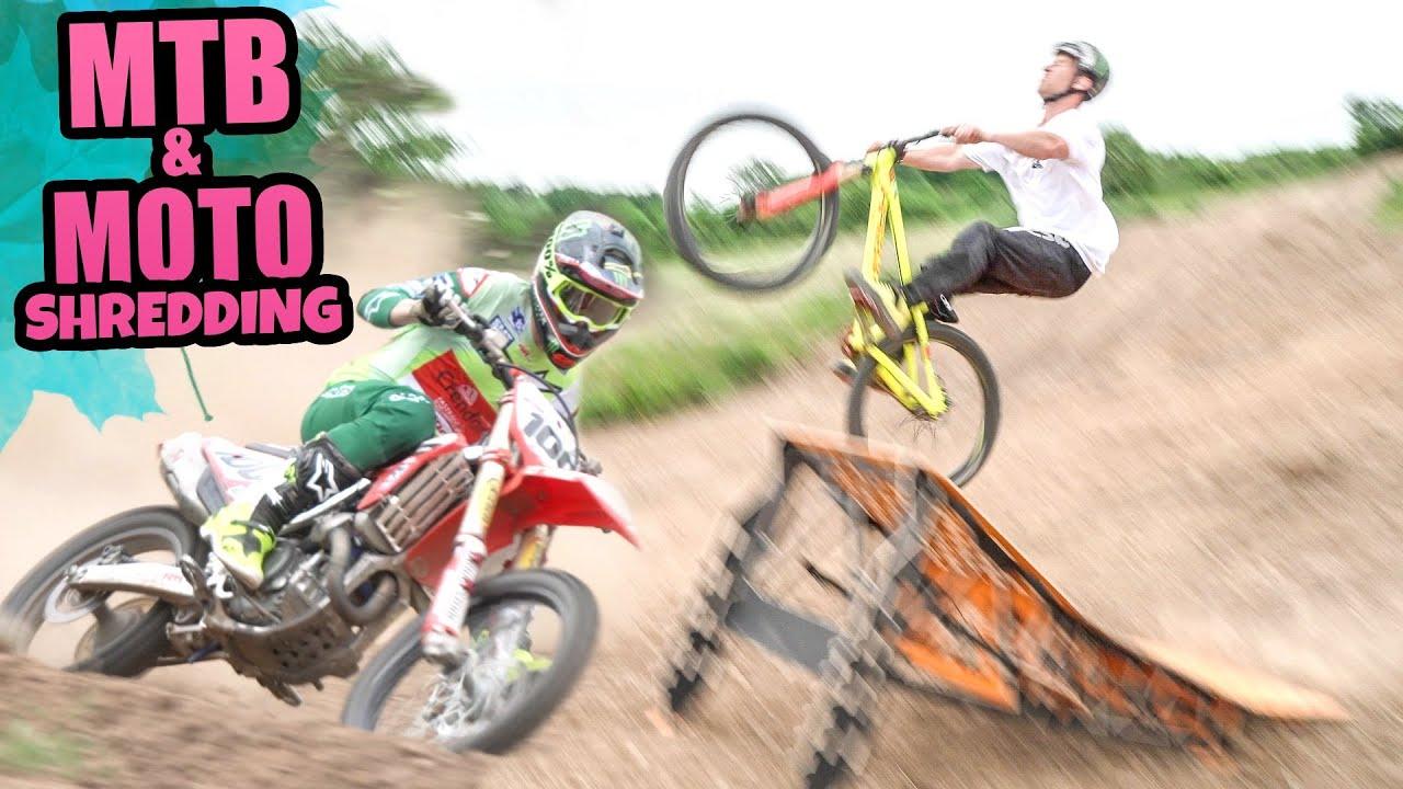 BIG MTB TRICKS AND MASSIVE PRO MOTOCROSS WHIPS - MTB & MOTO SHREDDING!