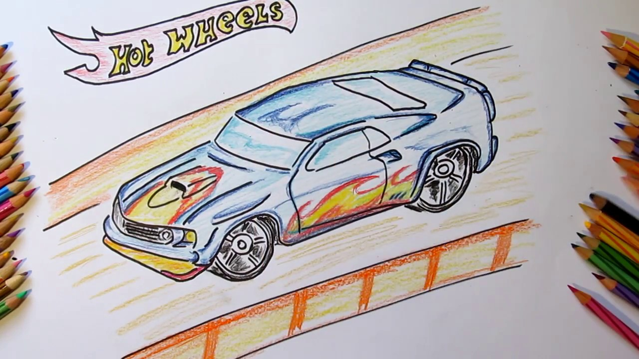 How to draw a fast car hot wheels i coloring for boys kids