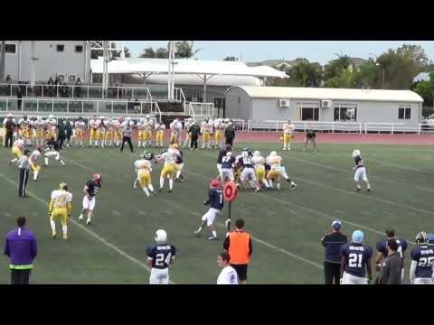Josh Hayward tackle for the Australian Future Stars, American Football (gridiron)