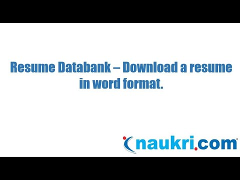 how to download a cv in word format from naukri s database youtube