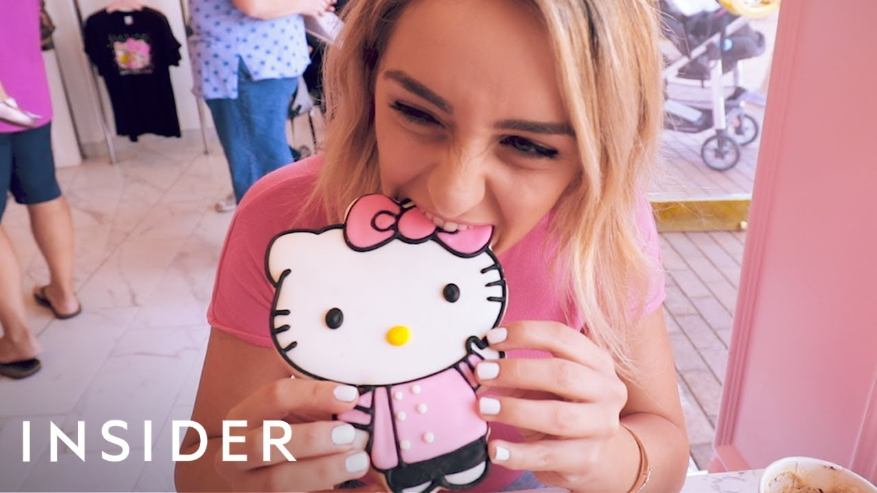 bab24f0df People Are Lining Up At Hello Kitty's New Café In California - YouTube