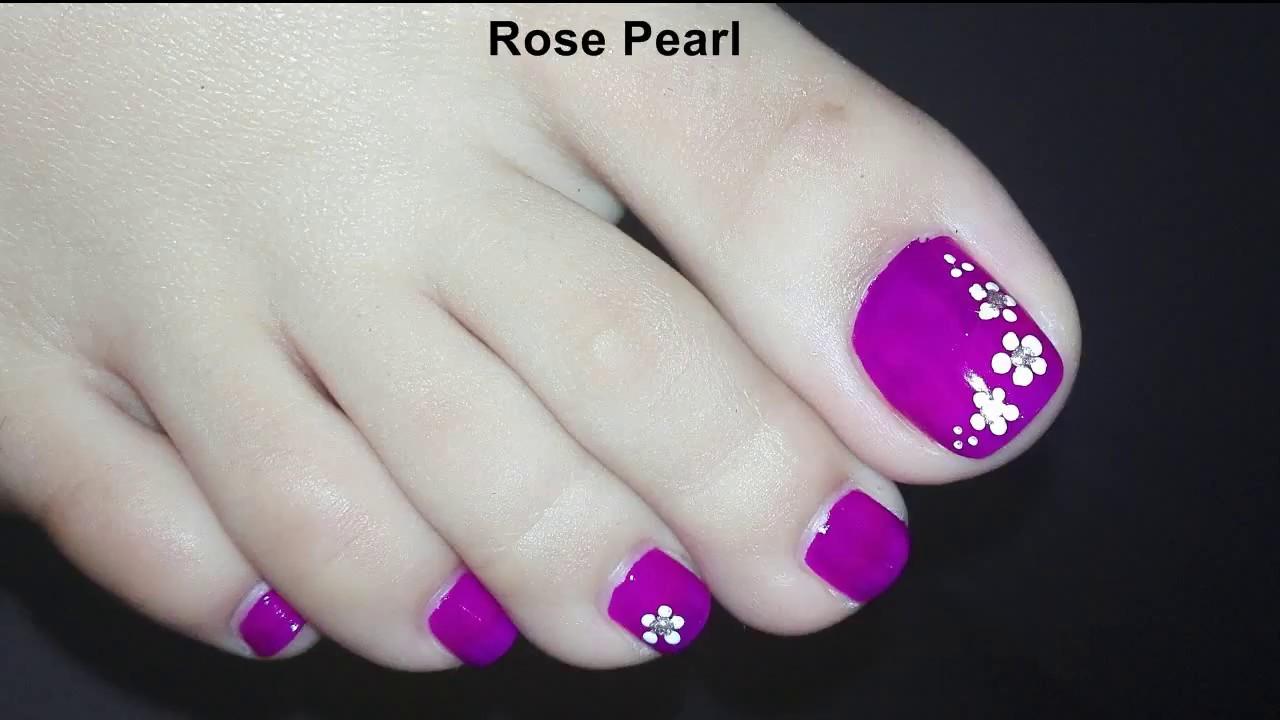Easy Diy Purple Floral Pedicure Tutorial Toenail Art Design Rose