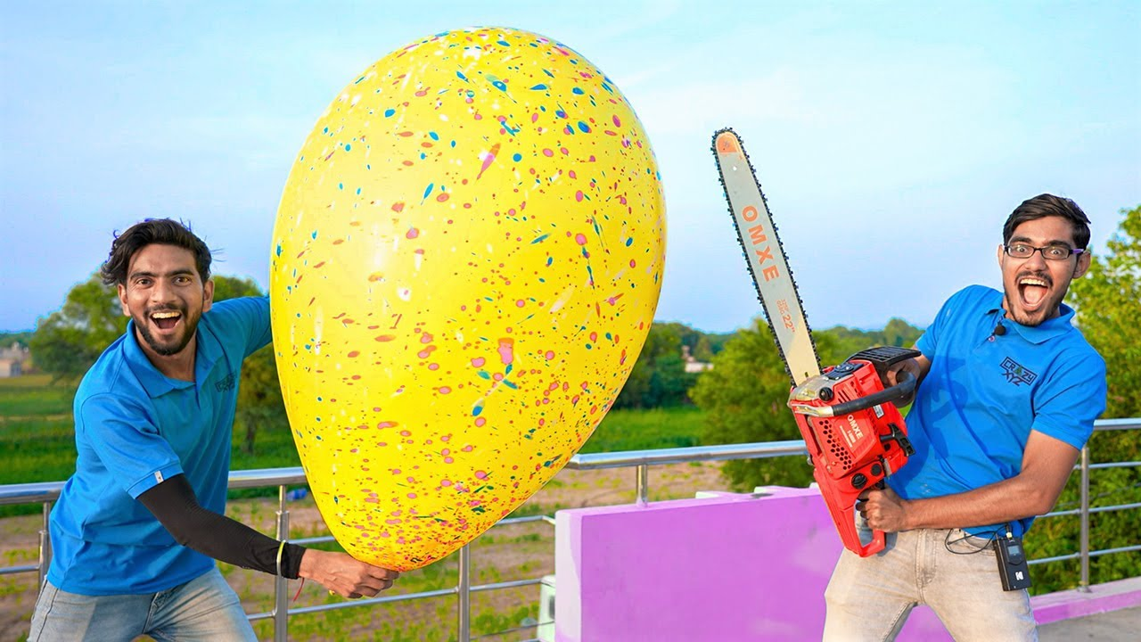Monster Balloon VS Powerful Chain Saw   Will It Survive?