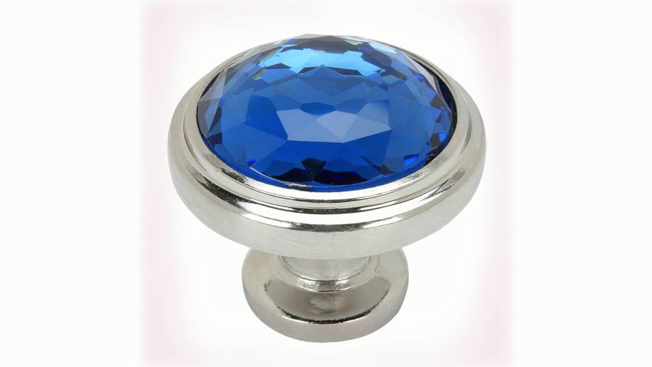 Cosmas Blue Glass Cabinet Hardware - YouTube
