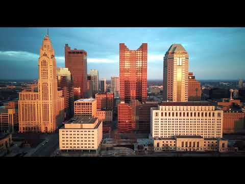 4k Aerial Flyover Columbus, Ohio downtown at Sunset