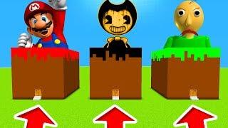 Minecraft PE : DO NOT CHOOSE THE WRONG GRASS BLOCK! (Mario, Bendy & Baldi's Basics)