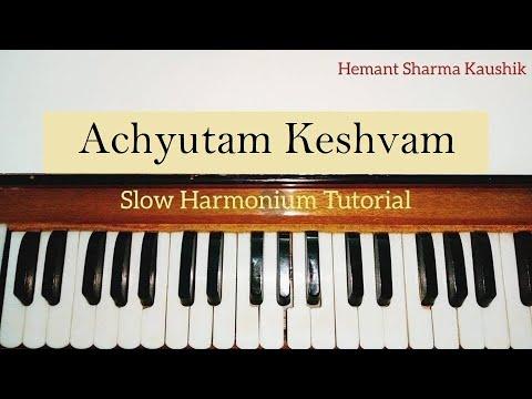 Achyutam Keshavam Krishna Damodaram Harmonium Notes Sargam | Tutorial