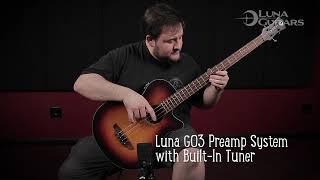 Tribal Acoustic Bass Long Scale - Tobacco Sunburst by Luna Guitars