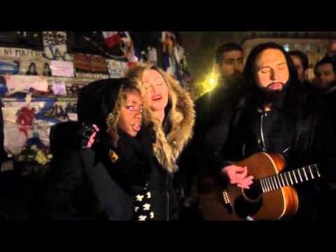 Madonna sings Imagine in Paris at Place de la République