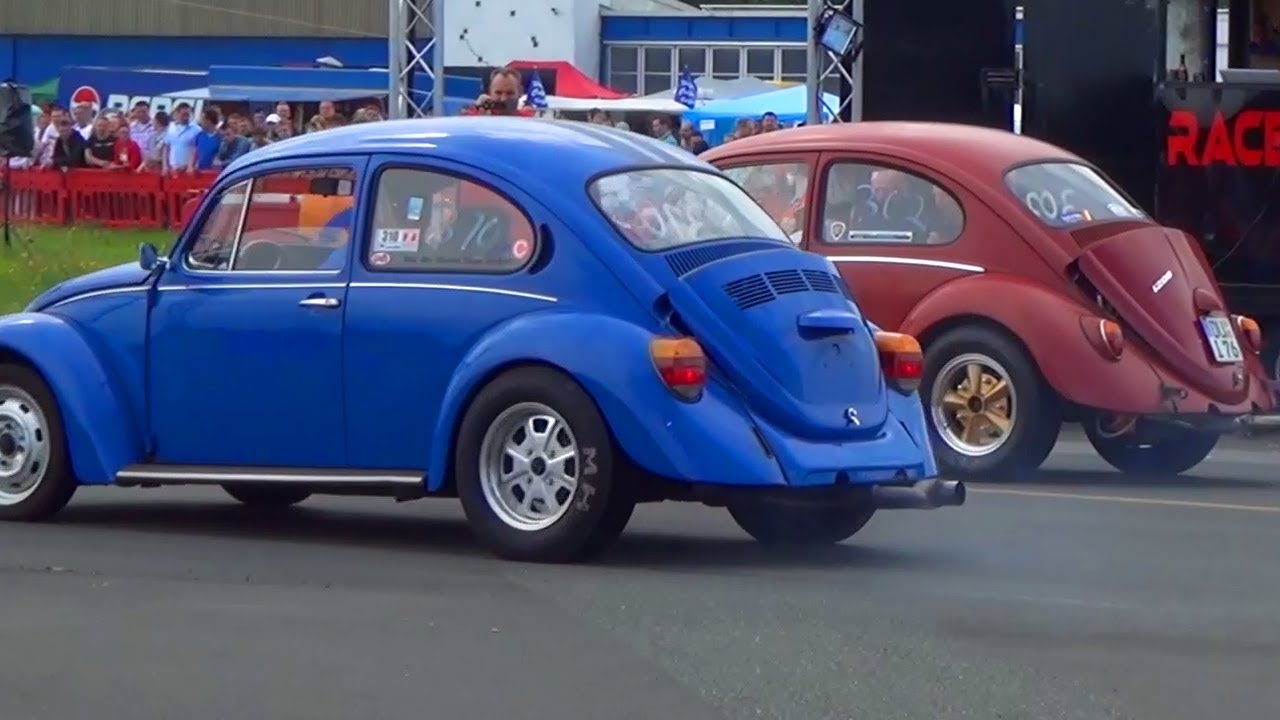 vw kaefer beetle   volkswagen beetle   mile drag race viertelmeile rennen youtube