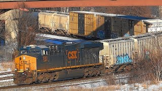 CSX Mixed Freight Train With DPU In Baltimore City