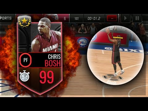 NBA LIVE MOBILE | 99 CHRIS BOSH GAMEPLAY/REVIEW!!! BUZZER BEATER ABILITIY😱 Best 3PT Power Forward??