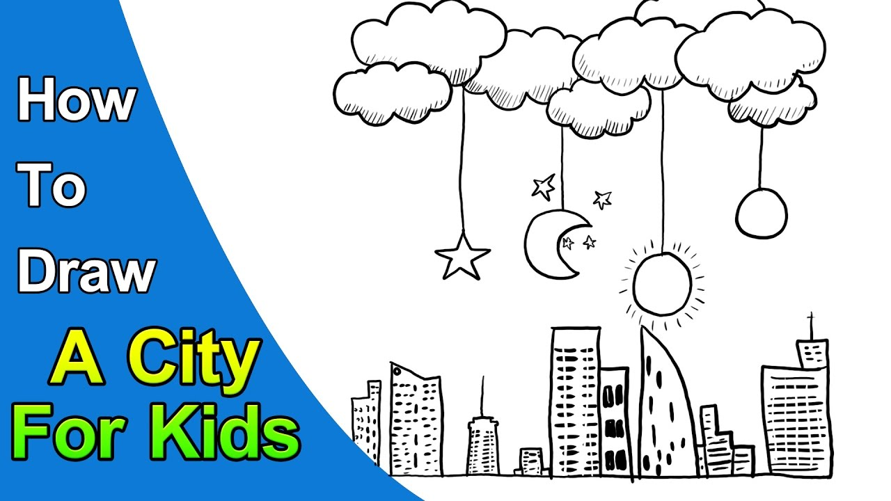 How to Draw a City For Kids Easy Drawing - YouTube
