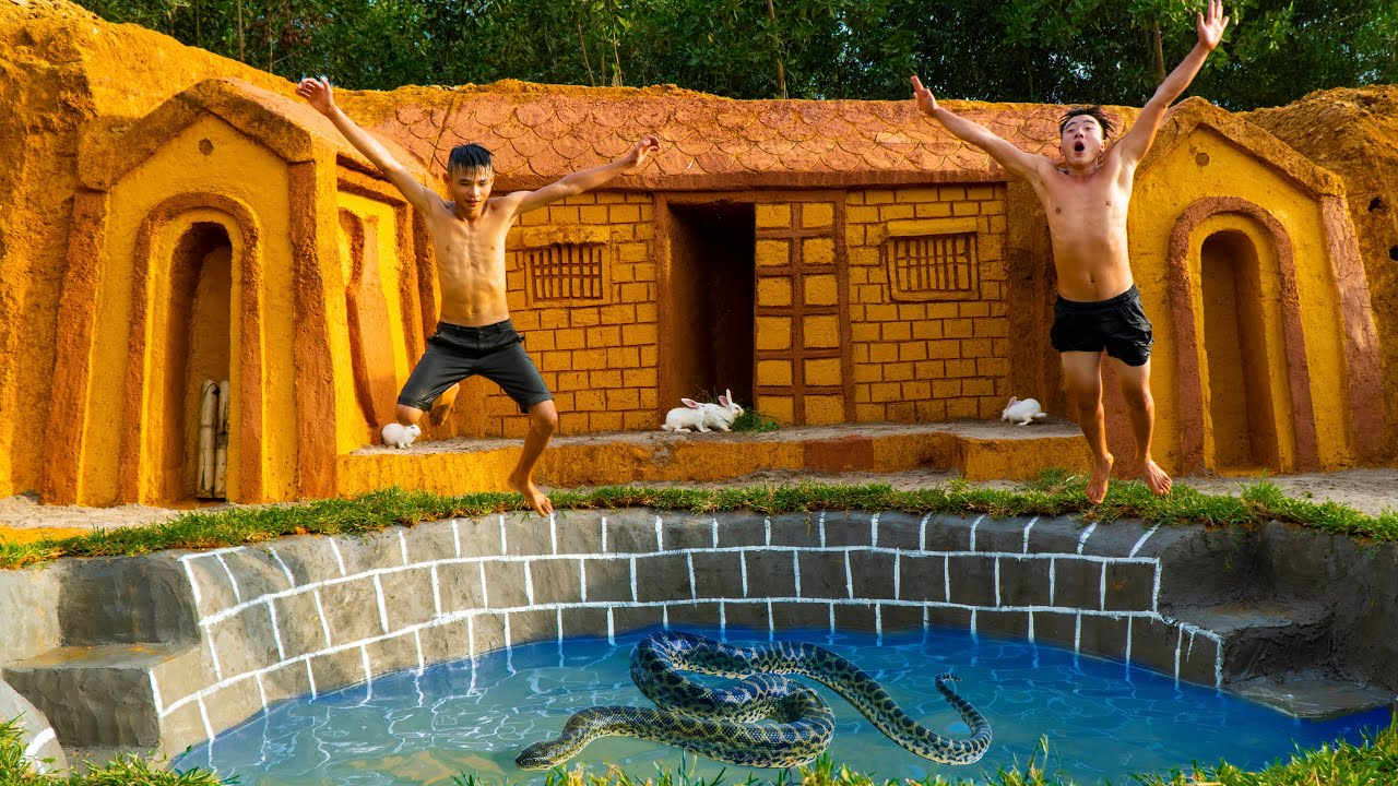 Build Swimming Pool With The Big Python Around Underground House