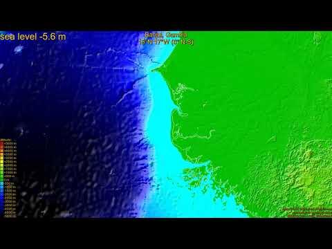 Banjul, Gambia, sea level rise -135 - 65 m