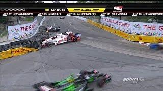2014 IndyCar Honda Indy Toronto Race 2   Montoya, Aleshin and others crash