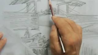 ゴッホ、アルルの跳ね橋模写2について、インターネット絵画教室3分動...