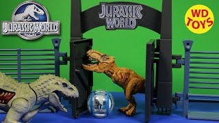 NEW JURASSIC WORLD LOCKDOWN PLAYSET  Indominus Rex Hybrid Vs TREX Tyrannasaurus Kids Toys Unboxing