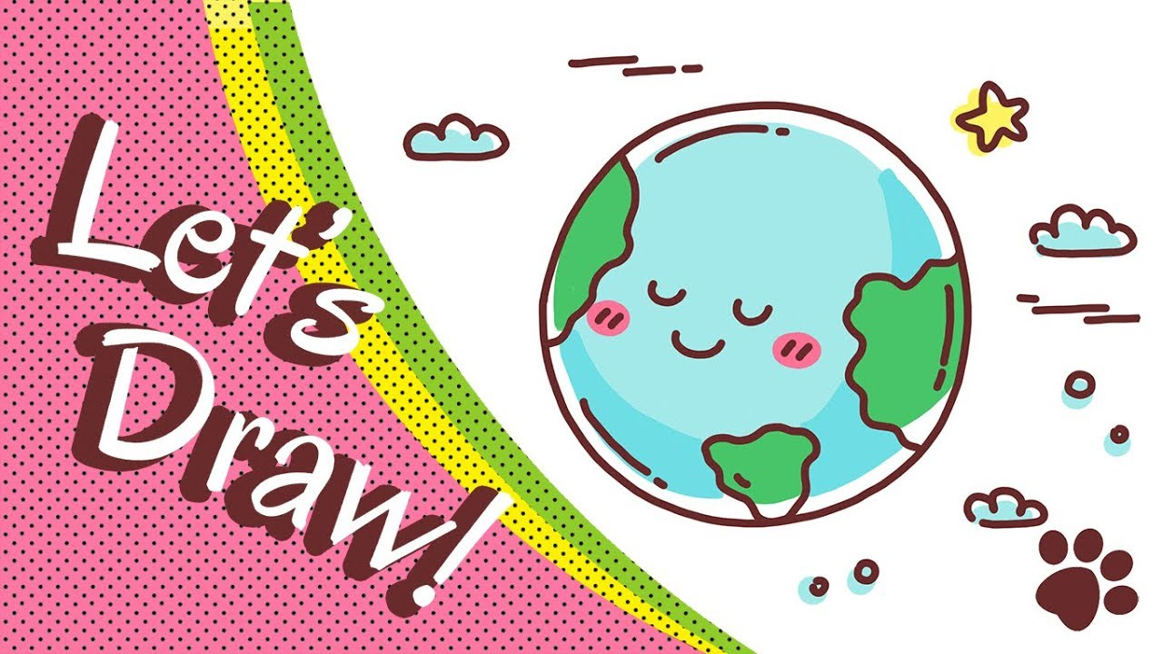 How to draw the earth step by step cute and easy easy for Easy to draw earth
