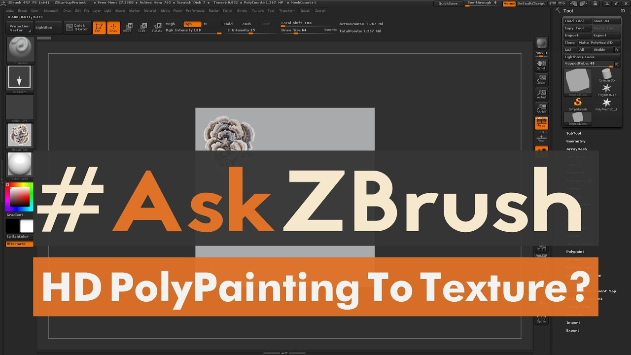 """AskZBrush: """"What's the proper way to export a texture map"""