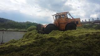 К 701 К 744р3 Т 150 МТЗ и машины Урал работа на силосной яме