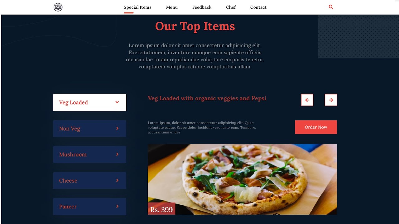 Carousel Menu items using HTML, CSS, bxSlider and jQuery (Pizza Website)   Part - 5